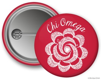 ChiO Chi Omega Flower Sorority Greek Button