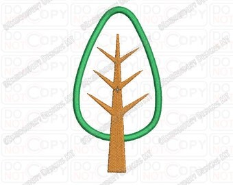 Simple Tree and Trunk  Applique Embroidery Design in 4x4 and 5x7 Sizes