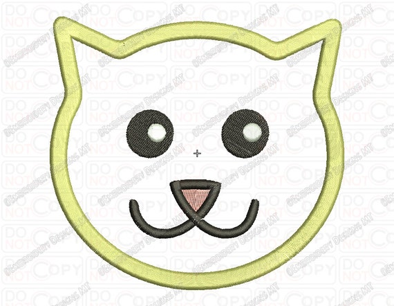 Cat Face Applique Embroidery Design In 2x2 3x3 4x4 And 5x7