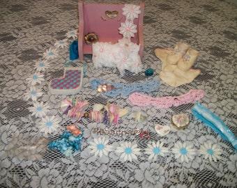 Super Pretty In PINK & BLUE Vintage Destash Jewelry Crochet Doll Bench Ornaments Doll Stuff Etc.Lot
