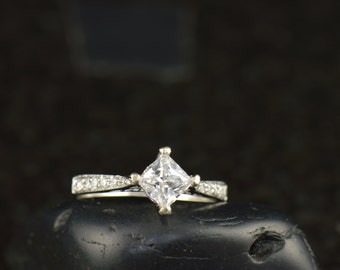 Lena - Moissanite and Diamond Engagement Ring in White Gold, Kite Set Princess Cut Center & Channel Set Accents and Filigree, Free Shipping