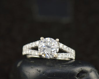 Kathryn - Moissanite and Diamond Engagement Ring in White Gold, Round Brilliant Cut Center with Prong Set Split Shank Band, Free Shipping