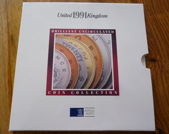 United Kingdom Royal Mint 1991 Uncirculated Coin Collection.