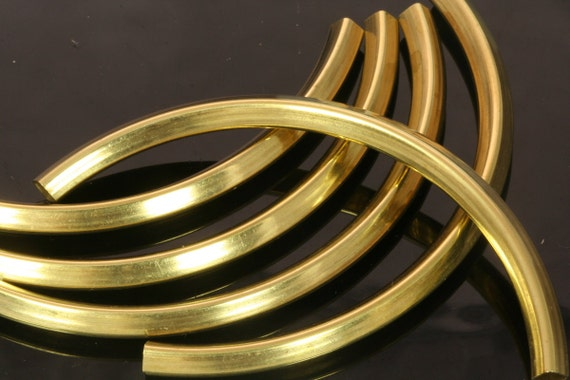 6 pcs 95 x 5 mm (hole 4,2 mm) raw brass curved square cambered tube industrial raw brass charms, pendant R1157