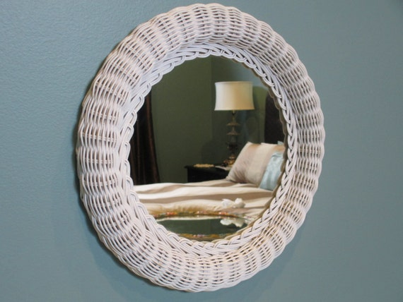 Vintage White Wicker Framed Wall Mirror Round Tray