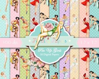 """Pinup girl digital paper : """"Pin Up Girls"""" retro digital paper with pin up girls / pinup girl digital download / pinup girls printable"""