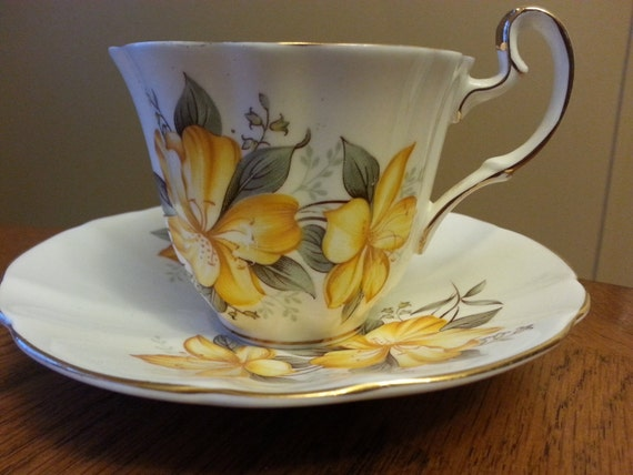 Royal Adderley Fine Bone China Tea Cup and Saucer, yellow floral design 1960's