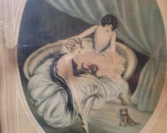 Framed Art Deco F.G. Henri Signed Boudoir Print Under Glass