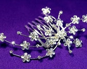 Exquisite Bridal Flower Clear Crystal Rhinestone Comb (481)