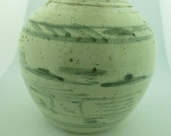 Antique 15th Century Hand Painted Ming Period Asian Ginger Jar.