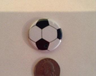 Flatback Soccer Button Cabochon Embellishment, Quantity of 3
