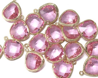 10% OFF (10 Pieces) . Pink Glass Pendant .  Wholesale Jewelry Supply . 16K Polished Gold Plated over Brass - CG004-PG-Pk