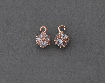Square Brass Pendant . Wedding Jewelry, Bridal Jewelry . Rose Gold Plated over Brass  / 2 Pcs - BC076-RG-CR