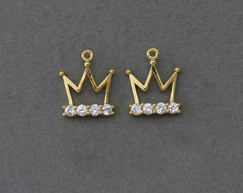 Crown Brass Pendant . Wedding Jewelry, Bridal Jewelry . 16K Polished Gold Plated over Brass  / 2 Pcs - JC004-PG-CR