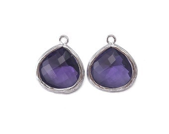 Amethyst Glass Pendant . Jewelry Craft Supplies . Polished Original Rhodium Plated over Brass  / 2 Pcs - AG002-PR-AM