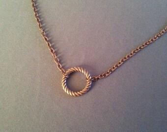Antique Copper Circle Chain Necklace