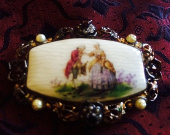 Old Porcelain Brooch