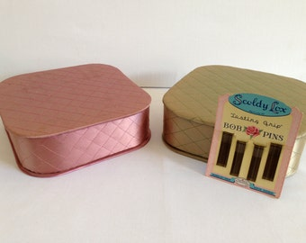Vintage Square Green and Pink Fabric Boxes Jewelry Trinkets etc c. 1960s