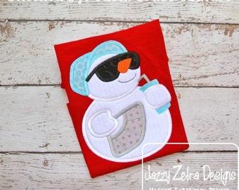 Summer Snowman Applique Design