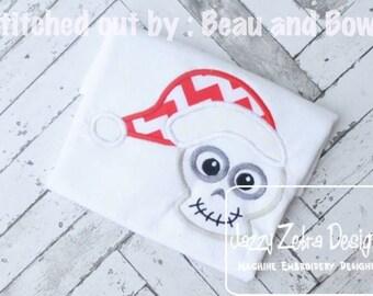 Skull wearing Santa Hat Appliqué embroidery Design - skull Appliqué Design - santa hat Appliqué Design - santa Applique Design - Christmas