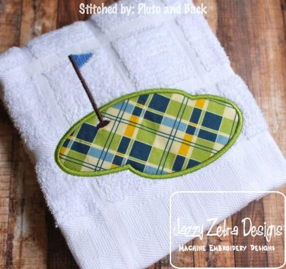 Golf Hole Applique embroidery Design - golf applique design - putting green appliqué design - hole in one appliqué design
