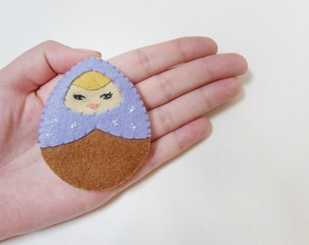 Felt matryoshka brooch purple and brown