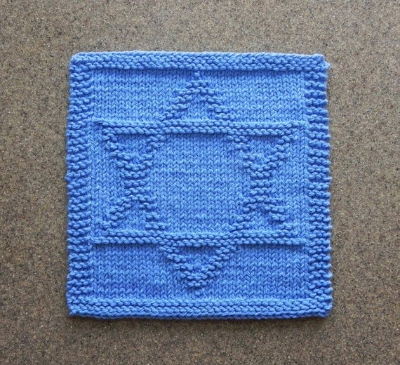 Knitted Dishcloth Pattern With Star : STAR of DAVID Knit Dishcloth or Wash Cloth. Hanukkah Hannukah
