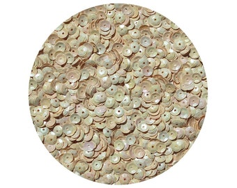 6mm Cup Sequins Facet Paillettes Beige Opaque Iris Rainbow Iridescent