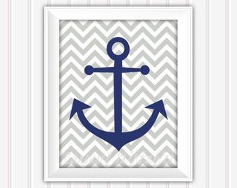 Anchor Wall Art, Nautical Wall Art, Printable Wall Art, Instant Download, Childrens Wall Art, Kids Wall Art, Nursery Wall Art, DIY Wall Art