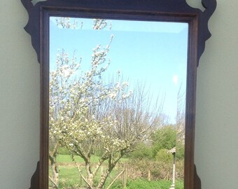 Midd 18th century style American silhouette mirror in laburnum