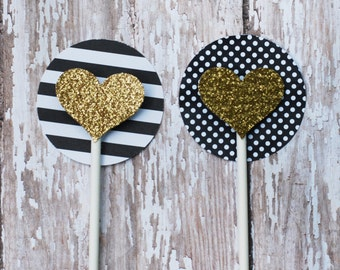 Black and Gold Cupcake Toppers, Black and White Striped Cupcake Toppers, Gold Heart cupcake toppers