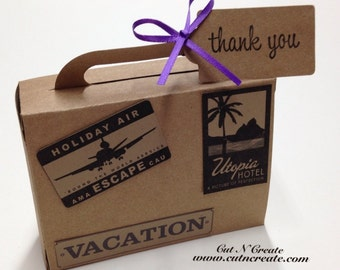 Suitcase Favor Boxes Suitcase Boxes Suitcase Favors Destination Wedding Travel Suitcase LARGE Embellishments Not Glued On