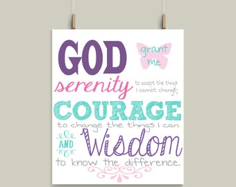 Serenity Prayert ...Print Art,  Kitchen Print or Metal Sign Choose Your Favorite Color