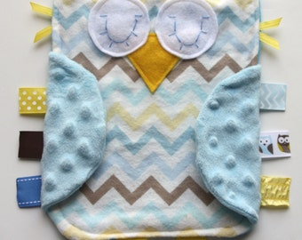 Yellow blue and tan chevron owl with light blue minky dot wings