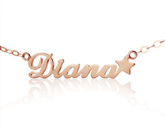 Carrie Style Name Necklace with Star Personalized 18k Rose Gold Plated Nameplate Pendant   Star Name Jewelry