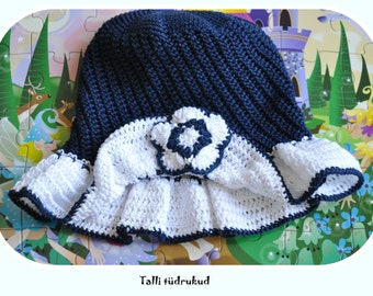Blue summer hat with flower and brim for girls