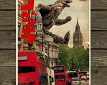 Godzilla meets London - Vintage Style Magazine Retro Print Cinema Studio watercolor background