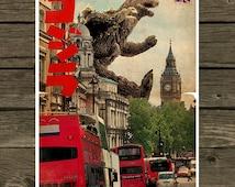 Godzilla meets London - Vintage Style Magazine Retro Print Cinema Studio watercolor background