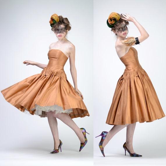 années 50 robe de soirée  Jupe soie Full Circle, robe de mariage ...