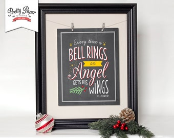 It's a Wonderful Life Christmas Wall Art // INSTANT DOWNLOAD // Holiday Print // Printable Christmas Decor // Christmas Sign // Chalkboard
