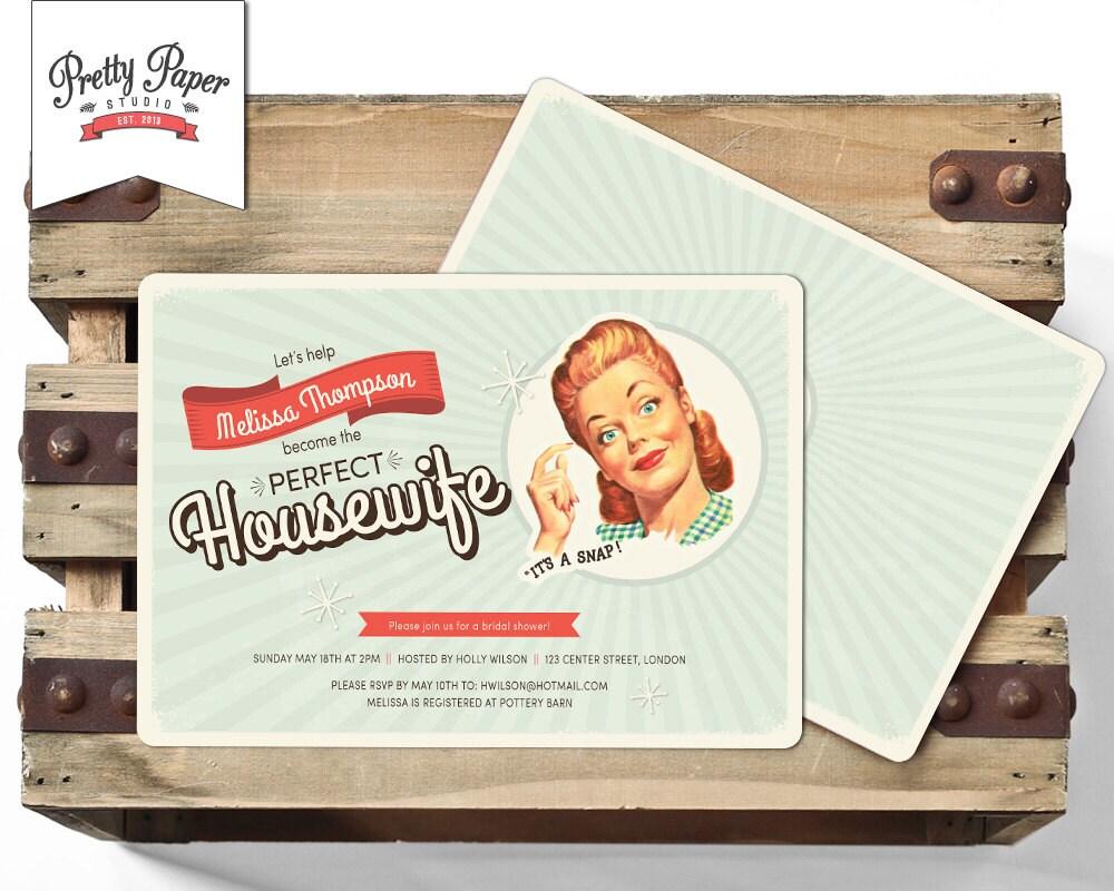 50s Housewife Bridal Shower Invitation // Retro 1950s