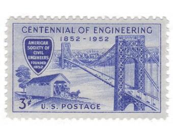 10 Unused Vintage Postage Stamps - 1952 3c Centennial of Engineering - Item No. 1012