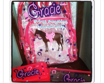 Personalized Clear Backpacks-Horse design