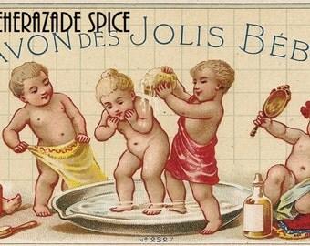 French Vintage Soap Label Babies des Jolis jpeg instant digital download