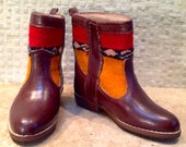 Handcrafted Moroccan Orange Kilim Boot in Brown Leather - Size 37