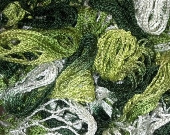 Ambushed Ruffle Scarf (various greens & white)