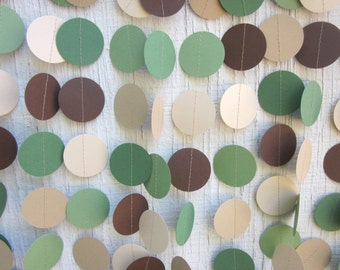 Camo Paper Circles Garland, Birthday Garland, Wedding Garland, Baby Shower Garland, Photo Prop, Safari Party