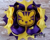 LSU Tiger Stacked Hair Bow - Louisiana State University - Go Tigers!