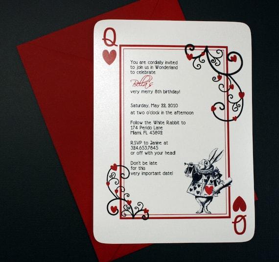 Alice in Wonderland Invitation Queen of Hearts Invite