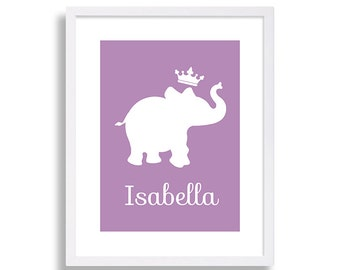 Purple Elephant Nursery Decor Safari Nursery Art Purple Nursery Print Elephant and Crown Modern Nursery Art Baby Name Print Baby Shower Gift